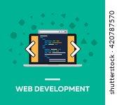 flat web development notebook | Shutterstock .eps vector #420787570