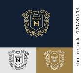 line graphics monogram. elegant ... | Shutterstock .eps vector #420789514
