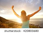 looking at back of woman with... | Shutterstock . vector #420803680
