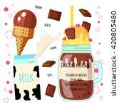 recipe of milkshake  smoothie... | Shutterstock .eps vector #420805480