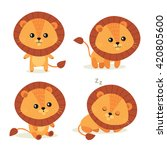 Stock vector cute little lion vector illustration 420805600
