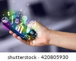 smartphone with finance and... | Shutterstock . vector #420805930
