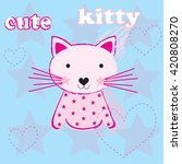 charming kitty with stars and... | Shutterstock .eps vector #420808270