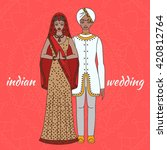 south asia bride and groom ... | Shutterstock .eps vector #420812764