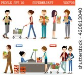 people in a supermarket with... | Shutterstock .eps vector #420813040