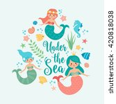 Under The Sea Card With Mermai...
