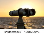 white telescope stands on sea... | Shutterstock . vector #420820093