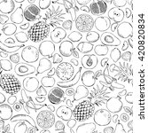 fruits doodle seamless. black... | Shutterstock .eps vector #420820834