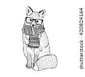 cute fox wearing hipster... | Shutterstock .eps vector #420824164