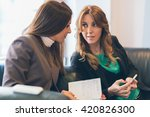 two smiling businesswoman... | Shutterstock . vector #420826300