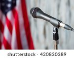 blurred us flag and microphone. ... | Shutterstock . vector #420830389