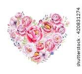 watercolor vintage floral piony ... | Shutterstock . vector #420831274