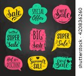 vector set of sale lettering in ... | Shutterstock .eps vector #420836260