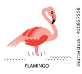 Cartoon African Flamingo Bird....