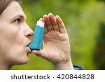 asthma patient inhaling... | Shutterstock . vector #420844828