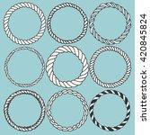 set of 9 decorative circle... | Shutterstock .eps vector #420845824