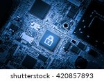 Cloud storage & security concept on computer mainboard - stock photo