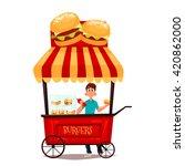 Street Selling Burgers  Vector...