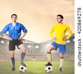 two rival soccer or football... | Shutterstock . vector #420869278