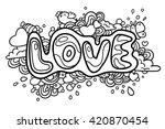 "hand drawn word ""love""   Shutterstock .eps vector #420870454"