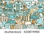 blue retro cityscape   seamless ... | Shutterstock .eps vector #420874984