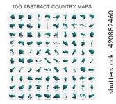 set of 100 maps in geometric... | Shutterstock .eps vector #420882460