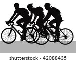 vector drawing cyclists while... | Shutterstock .eps vector #42088435