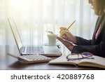 young professional woman works... | Shutterstock . vector #420889768