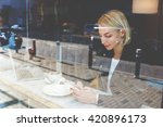 woman is chatting via mobile... | Shutterstock . vector #420896173