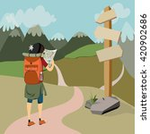 hiker with backpack in mountain ... | Shutterstock .eps vector #420902686