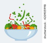 fresh salad with vegetables and ... | Shutterstock .eps vector #420905998