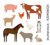 set of flat farm animals and... | Shutterstock .eps vector #420908020