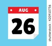 calendar icon flat august 26
