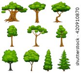 diversity of trees set | Shutterstock .eps vector #420910870
