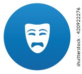 sad mask icon design on blue...