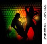 silhouette dancing girl in party | Shutterstock .eps vector #420927823