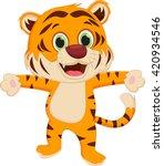 happy tiger cartoon | Shutterstock .eps vector #420934546