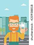 man pressing like button.   Shutterstock .eps vector #420938818