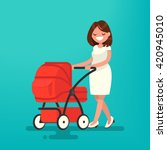 young mother walking with a... | Shutterstock .eps vector #420945010