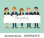 happy business team with a... | Shutterstock .eps vector #420956374