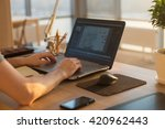 young man working with laptop ... | Shutterstock . vector #420962443