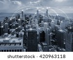 chicago city and connection... | Shutterstock . vector #420963118
