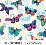 seamless pattern with flying... | Shutterstock .eps vector #420964300