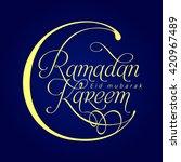 ramadan kareem label. lettering ... | Shutterstock .eps vector #420967489