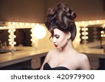 creative hairstyle of young... | Shutterstock . vector #420979900