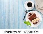 Tiramisu Dessert And Coffee On...