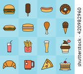 fast food colorful thin line... | Shutterstock .eps vector #420982960
