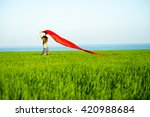 young lady runing with tissue... | Shutterstock . vector #420988684