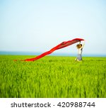 young lady runing with tissue... | Shutterstock . vector #420988744