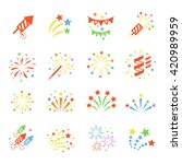 firework color icon set with... | Shutterstock . vector #420989959